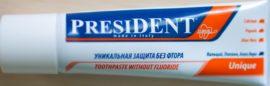 Зубная паста без фтора President Unique